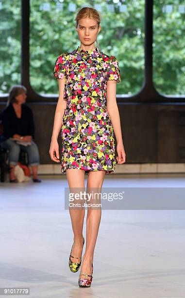 Model walks down the runway at the Erdem Spring/Summer 2010 show at the Queen Elizabeth II Hall during London Fashion Week on September 22, 2009 in...