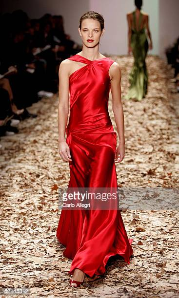 A model walks down the runway at the Esteban Cortazar Fall 2005 show during the Olympus Fashion Week at Bryant Park February 6 2005 in New York City