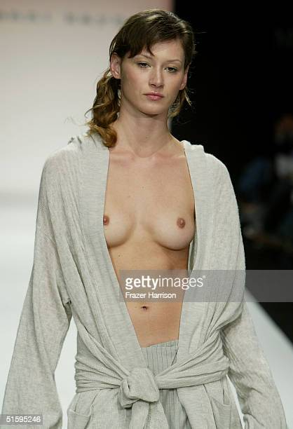 A model walks down the runway at the Jenni Kayne Collection Spring 2005 show at the MercedesBenz Fashion Week at Smashbox Studios on October 27 2004...