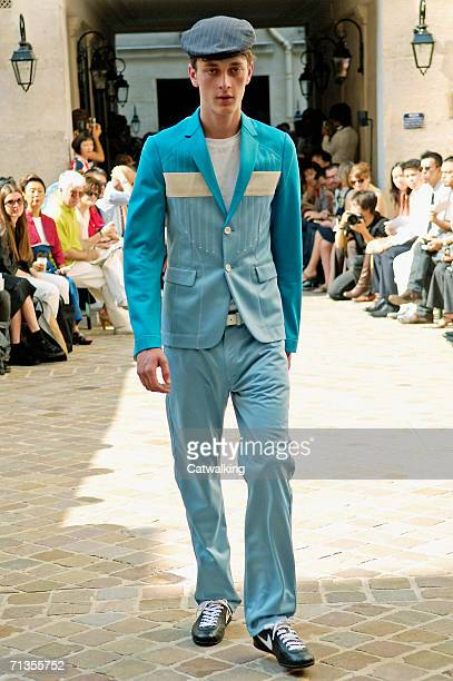 Model walks down the runway at the Junya Watanabe Man show as part of Paris Menswear Spring/Summer 2007 Collections on July 1, 2006 in Paris, France.