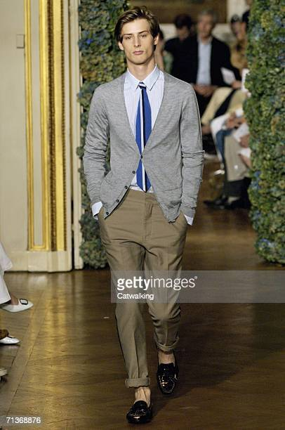 Model walks down the runway at the Lanvin show as part of Paris Menswear Spring/Summer 2007 Collections on July 3, 2006 in Paris, France.