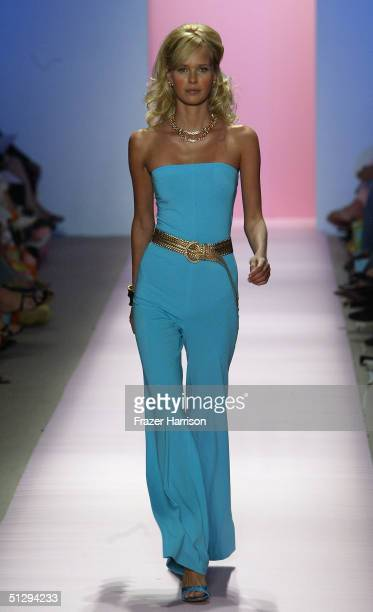 A model walks down the runway at the Lilly Pulitzer Couture Spring 2005 fashion show during the Olympus Fashion Week Spring 2005 at the Plaza in...