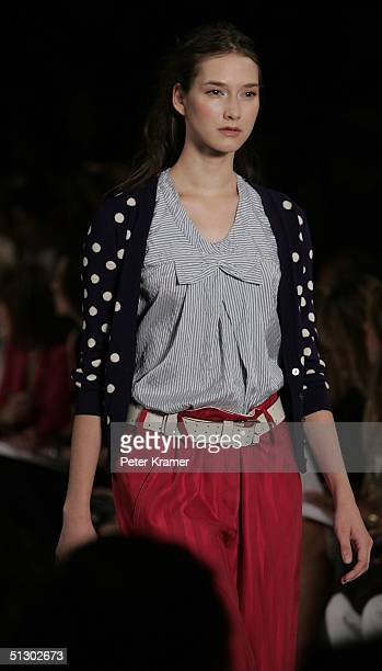 Model walks down the runway at the Marc Jacobs show during Olympus Fashion Week Spring 2005 at Pier 54 September 13, 2004 in New York City.