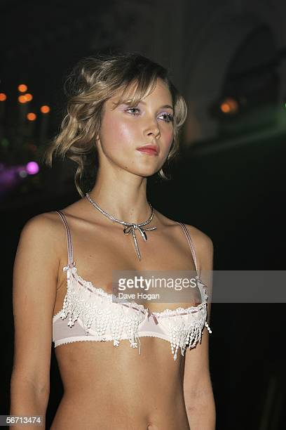 A model walks down the runway at the 'MYLA Debutantes Coming Out Show' the first ever catwalk show for the luxury lingerie and sex life accessories...