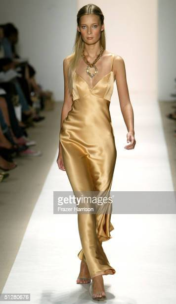 A model walks down the runway at the Nicole Miller show during Olympus Fashion Week Spring 2005 at the Plaza in Bryant Park September 9 2004 in New...