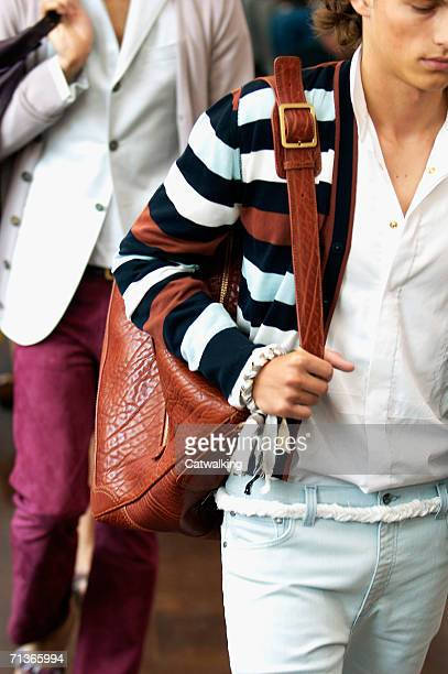 Model walks down the runway at the Trussardi show as part of Milan Menswear Spring/Summer 2007 Collections on June 28 2006 in Milan Italy