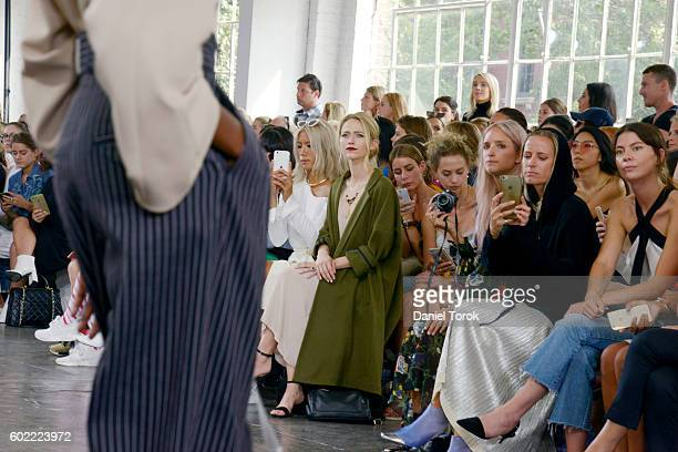 A model walks down the runway at Tibi fashion show during New York Fashion Week September 2016 at Industria Superstudio on September 10 2016 in New...