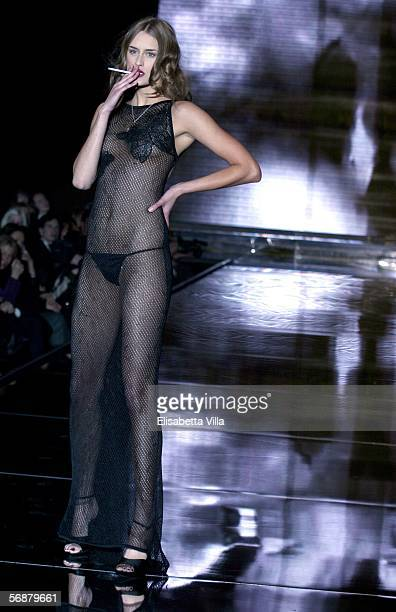 A model walks down the runway at Valeria Marini show on the first day of Milan Fashion Week readytowear womenswear collections Autumn/Winter 2006/7...