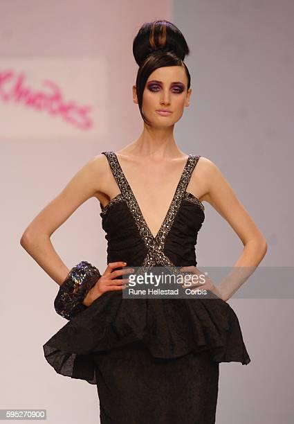 A model walks down the runway during a Spring/Summer 2007 show by designer Zandra Rhodes at London Fashion Week
