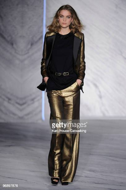 Model walks down the runway during the 3.1 Phillip Lim fashion show, part of Mercedes-Benz Fashion Week, New York on February 17, 2010 in New York,...
