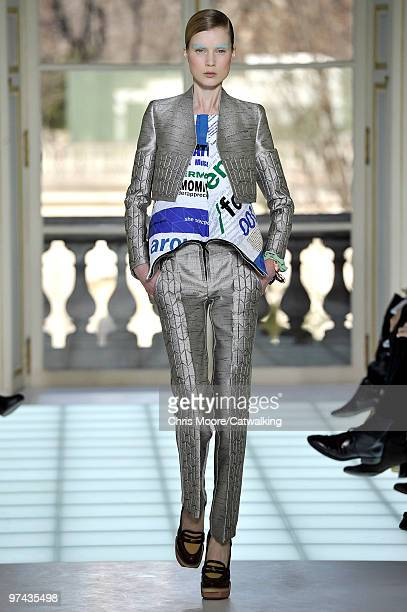 A model walks down the runway during the Balenciaga fashion show part of Paris Fashion Week Paris on March 4 2010 in Paris France