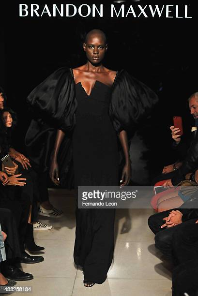 A model walks down the runway during the Brandon Maxwell fashion show during Spring 2016 New York Fashion Week at Mr Chow on September 14 2015 in New...