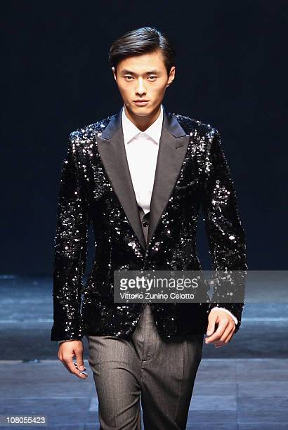 A model walks down the runway during the Dolce Gabbana Fashion Show as part of Milan Fashion Week Menswear A/W 2011 on January 15 2011 in Milan Italy