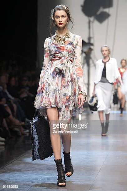 A model walks down the runway during the Dolce Gabbana show as part of Milan Womenswear Fashion Week Spring/Summer 2010 on September 27 2009 in Milan...