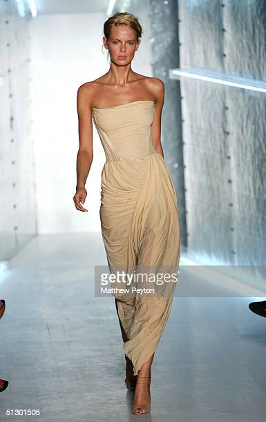 Model walks down the runway during the Donna Karan show during Olympus Fashion Week Spring 2005 at 711 Greenwich Street September 13 2004 in New York...
