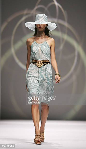 A model walks down the runway during the Ready to Wear show by Shakuhachi in the Harbour Room of the Overseas Passenger Terminal during Mercedes...