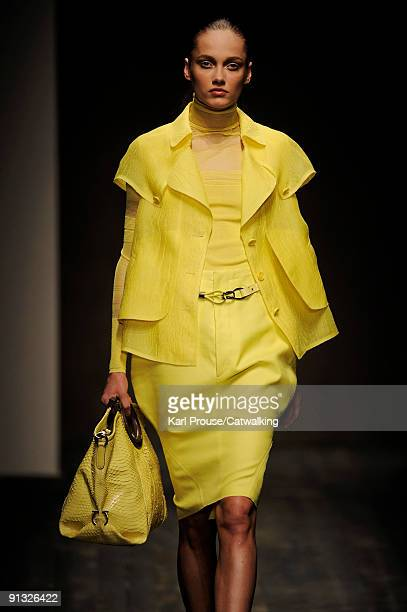 A model walks down the runway during the Salvatore Ferragamo show as part of Milan Womenswear Fashion Week Spring/Summer 2010 on September 27 2009 in...