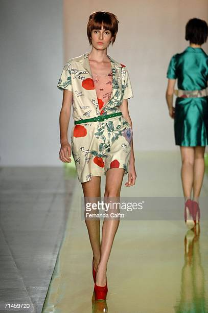 A model walks down the runway during the Zigfreda Summer 2007 fashion show at Bienal Ibirapuera on July 15 2006 in Sao Paulo Brazil