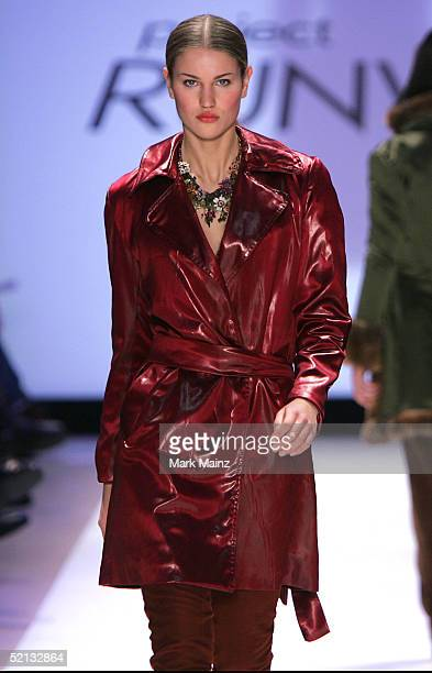 A model walks down the runway for Wendy Pepper at the Project Runway Fall 2005 show during the Olympus Fashion Week at Bryant Park February 4 2005 in...