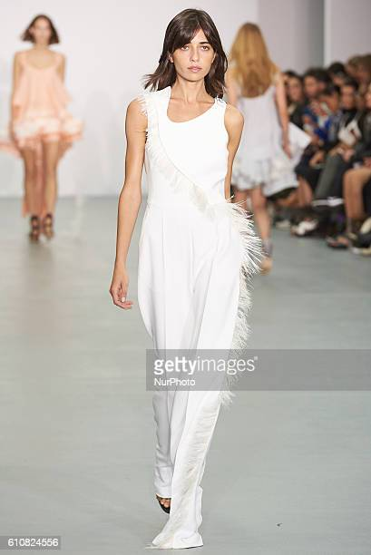 A model walks down the runway wearing Antonio Beradi's spring/summer 17 collection at London Fashion Week on September 20th 2016