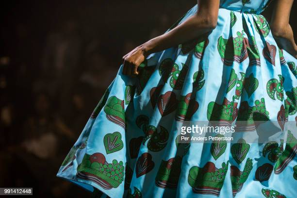 A model walks during a show with the South African designers KLuk CGDT on August 17 2017 in Mall of Africa north of Johannesburg South Africa African...
