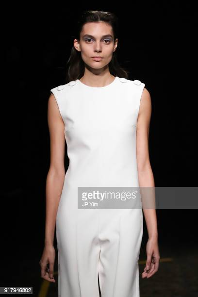 A model walks during BOSS Womenswear Gallery Collection During New York Fashion Week Mens' at Cedar Lake on February 13 2018 in New York City