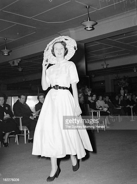 A model walks during the Christian Dior fashion parade at David Jones Factory on July 15 1948 in SydneyAustralia