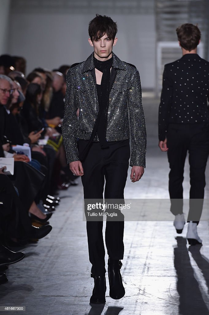 A model walks during the Costume National Show as a part of Milan Menswear Fashion Week Fall Winter 2015/2016 on January 17, 2015 in Milan, Italy.