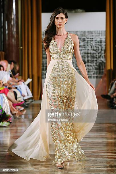 A model walks during the Elvio Acevedo fashion show as a part of AltaRoma AltaModa Fashion Week Fall/Winter 2015/16 at ST Regis Hotel on July 12 2015...