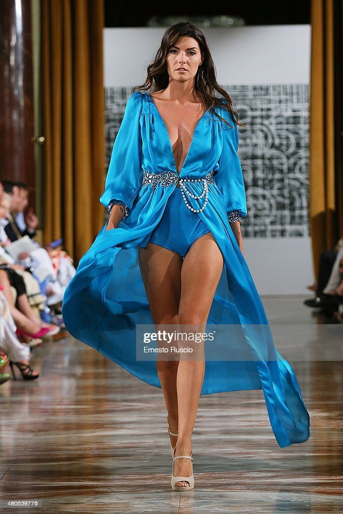A model walks during the Michelle Salins fashion show, as a part of AltaRoma AltaModa Fashion Week Fall/Winter 2015/16 at ST Regis Hotel on July 12, 2015 in Rome, Italy.