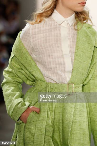A model walks fashion detail the runway at the Danny Reinke show during the MercedesBenz Fashion Week Berlin Spring/Summer 2018 at Kaufhaus Jandorf...