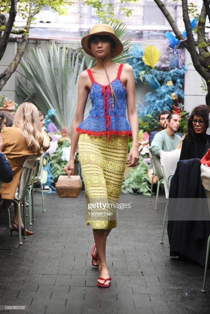 A model walks for the Staud Presentation during New York Fashion Week: The Shows at Laudree on September 12, 2018 in New York City.
