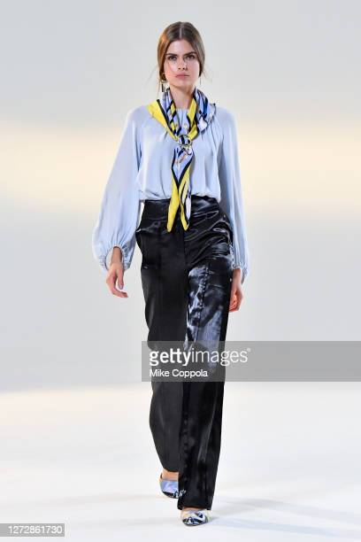 Model walks for the Vivienne Hu Spring/Summer 2021 New York Fashion Week Runway Show at Spring Studios on September 15, 2020 in New York City.