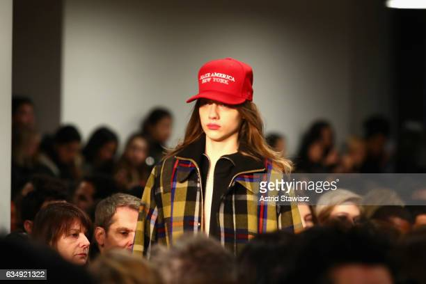 A model walks hat detail the runway Public School collection during New York Fashion Week The Shows at Milk Gallery on February 12 2017 in New York...