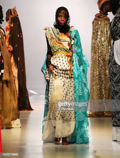 Model walks in fashion by ARTC/Francisco Remesal during the Hub of Africa Fashion Show at Millenium Hall on October 3, 2018 in Addis Ababa, Ethiopia.
