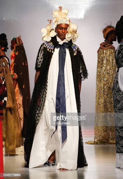A model walks in fashion by ARTC/Francisco Remesal during the Hub of Africa Fashion Show at Millenium Hall on October 3 2018 in Addis Ababa Ethiopia