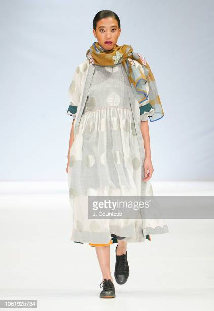 A model walks in KaSha by Karishma Khan during the autumn/winter 2019 collections at South Africa Fashion Week at Sandton City Mall on October 24...