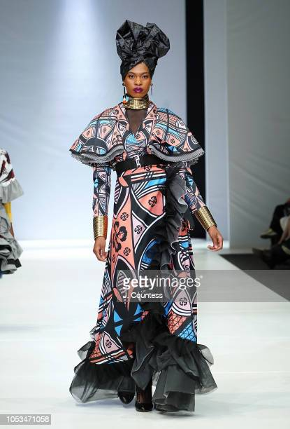 A model walks in Mantsho by Palesa Mokubung at the BRICS Designer Collctions showcase during the autumn/winter 2019 collections at South Africa...