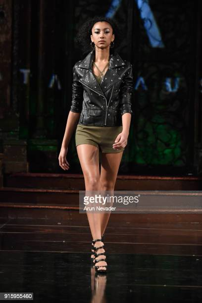 A model walks in the Datari Austin presentation at New York Fashion Week Powered by Art Hearts Fashion NYFW at The Angel Orensanz Foundation on...