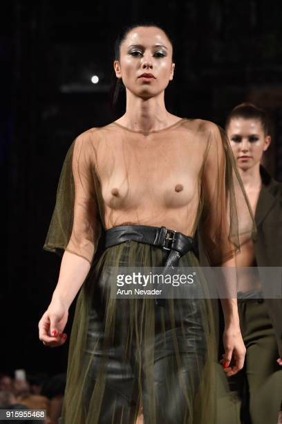 A model walks in the Datari Austin presentation at New York Fashion Week Powered by Art Hearts Fashion NYFW at The Angel Orensanz Foundation on...
