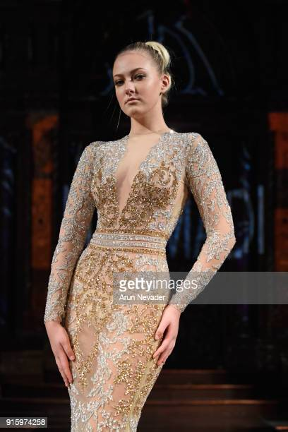 A model walks in the Elie Madi presentation at New York Fashion Week Powered by Art Hearts Fashion NYFW at The Angel Orensanz Foundation on February...