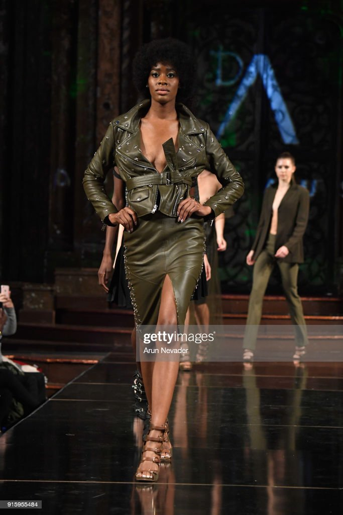 A model walks in the finale of the Datari Austin presentation at New York Fashion Week Powered by Art Hearts Fashion NYFW at The Angel Orensanz Foundation on February 8, 2018 in New York City.