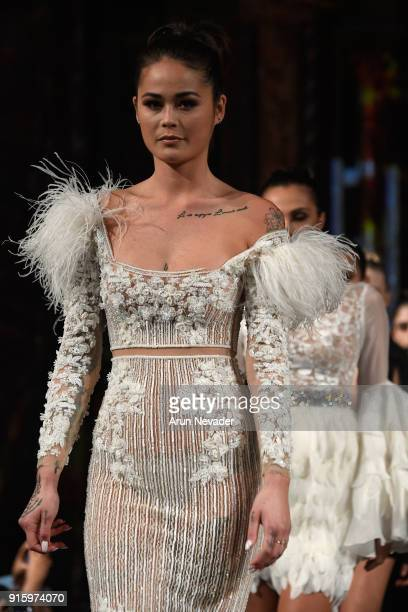 A model walks in the finale of the Elie Madi presentation at New York Fashion Week Powered by Art Hearts Fashion NYFW at The Angel Orensanz...