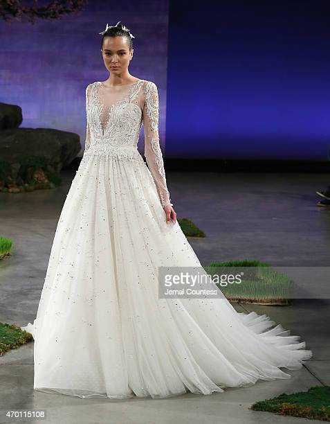 A model walks in the Ines Di Santo Bridal Spring/Summer 2016 Runway Show at DIA 545 on April 17 2015 in New York City