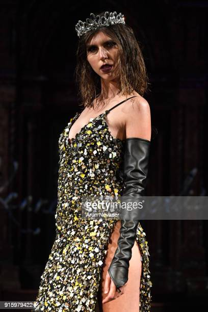 A model walks in the Kenneth Barlis presentation at New York Fashion Week Powered by Art Hearts Fashion NYFW at The Angel Orensanz Foundation on...