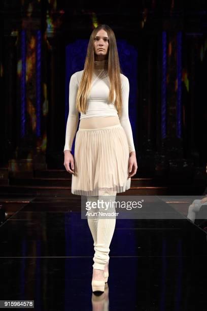 A model walks in the Kentaro Kameyama presentation at New York Fashion Week Powered by Art Hearts Fashion NYFW at The Angel Orensanz Foundation on...