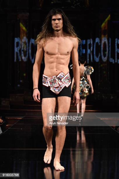 A model walks in the Rocky Gathercole presentation at New York Fashion Week Powered by Art Hearts Fashion NYFW at The Angel Orensanz Foundation on...