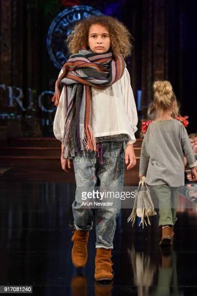 A model walks in the Trico Field presentation during New York Fashion Week Powered by Art Hearts Fashion NYFW at The Angel Orensanz Foundation on...