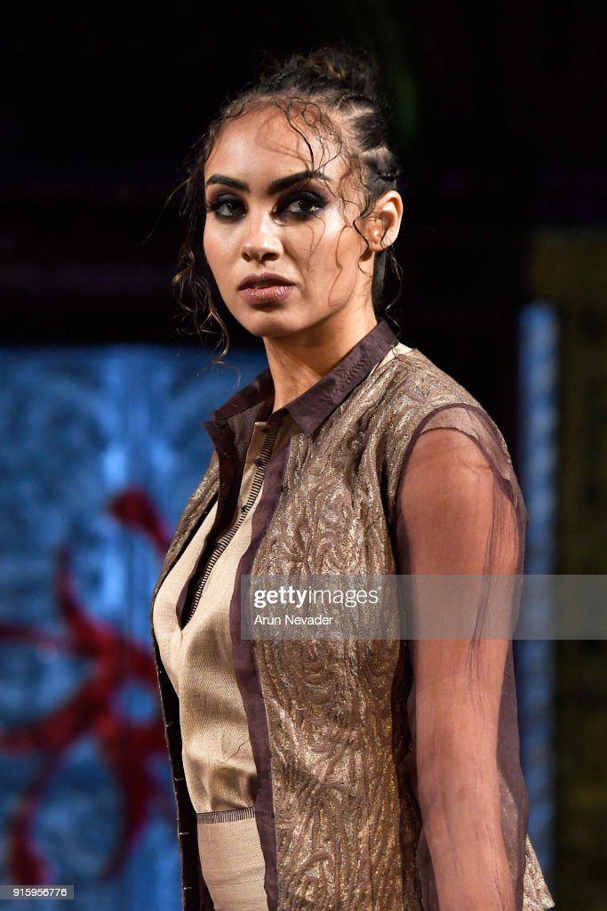 A model walks in the Vaishali S presentation at New York Fashion Week Powered by Art Hearts Fashion NYFW at The Angel Orensanz Foundation on February 8, 2018 in New York City.