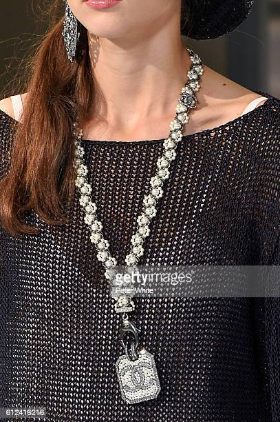 A model walks necklace detail the runway during the Chanel show as part of the Paris Fashion Week Womenswear Spring/Summer 2017 on October 4 2016 in...